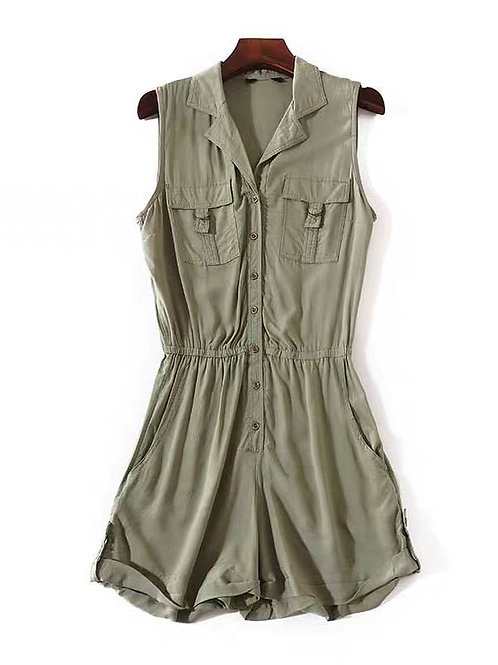Button Down Romper in Olive Green