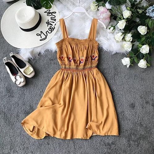 Embroidered High Waist Dress