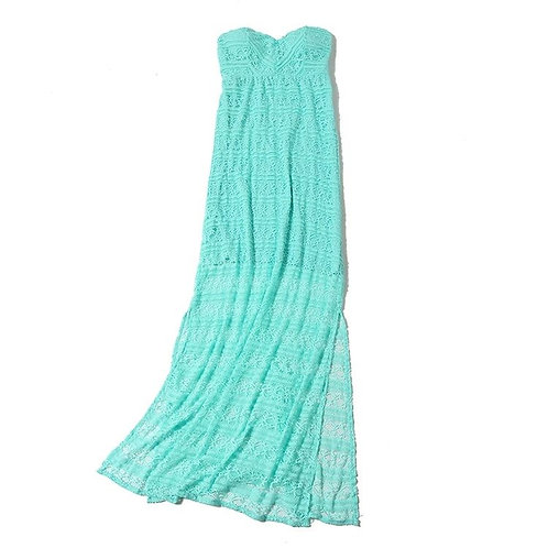 Padded Lace Tube Maxi Dress with Side Slit