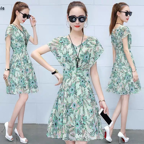 Floral Butterfly Sleeve Dress