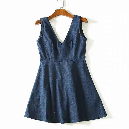 Sleeveless V Neck Denim Dress