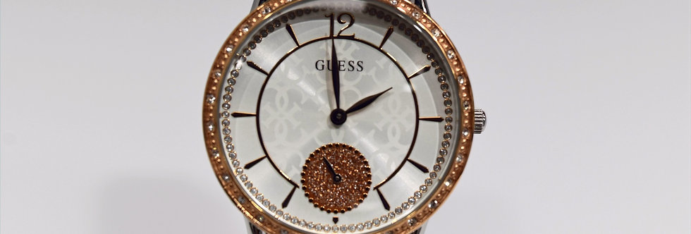 Guess Women's Two Tone Rose Gold IP SS Crystals W1290L2 Watch