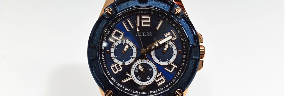 Guess Men's Blue Silicone Rose Gold SS GW0051G3 Watch