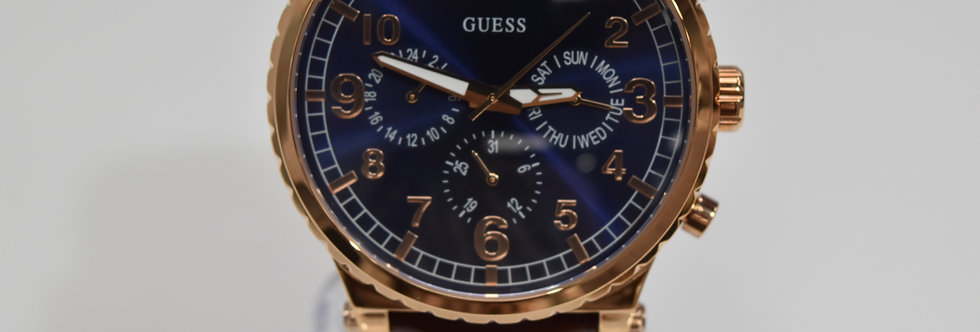 Guess Men's Brown Leather Rose Gold SS W1215G1 Watch