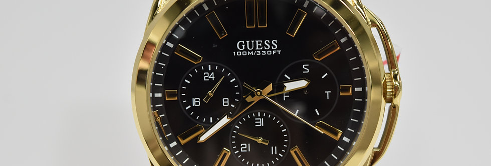 Guess Men's Black Silicone Yellow Gold IP SS W1177G2 Watch