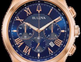 Bulova Wilton SS Rose Gold Blue Dial 97B170 Watch