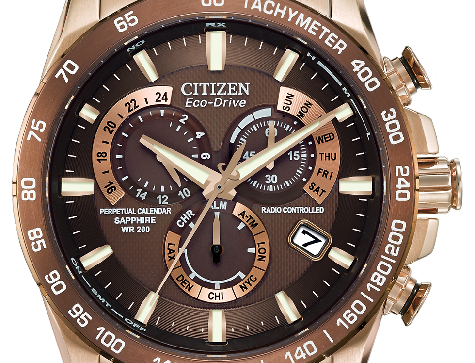 Citizen PCAT Eco-Drive Rose Gold Brown AT4106-52X Watch