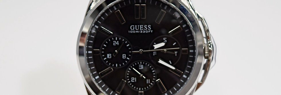 Guess Men's Black Silicone Stainless Steel W1177G3 Watch