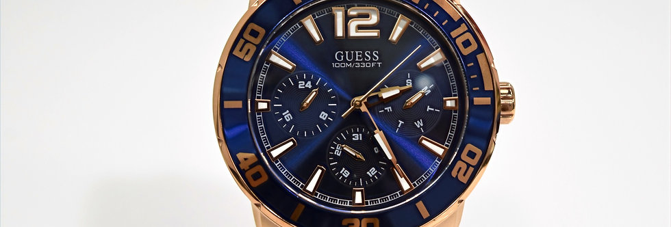 Guess Men's Blue Silicone Rose Gold SS W1250G2 Watch