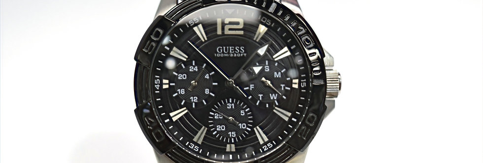 Guess Men's Black Silicone Stainless Steel W0366G1 Watch