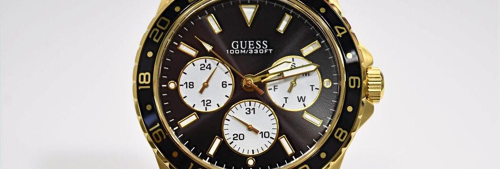 Guess Men's Yellow Gold IP SS Black Dial W1107G4 Watch