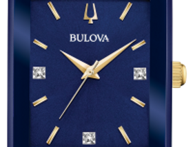 Bulova Quadra SS Blue Dial With Diamonds 98D154 Watch