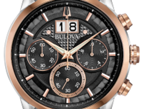 Bulova Sutton Silver And Rose Gold SS Gray Dial 98B335 Watch