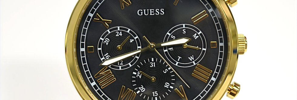 Guess Men's Yellow Gold IP SS Black Dial W1309G2 Watch