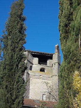 Le clocher de l'église de Belcastel