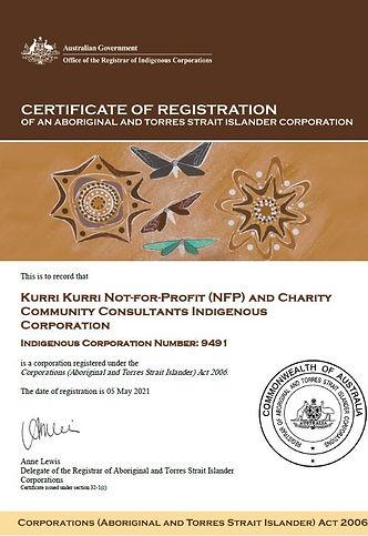 ORIC Indigenous Business Registration Certificate (Kurri Kurri Not-for-Profit Indigenous Construction Services (KKICS) Indigenous Corporation