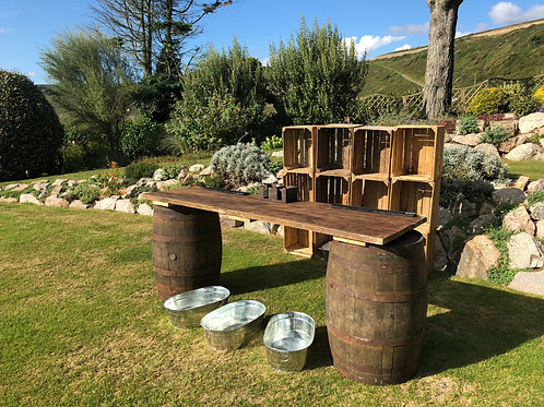 Barrel Bar & Apple Crate Back Bar Package