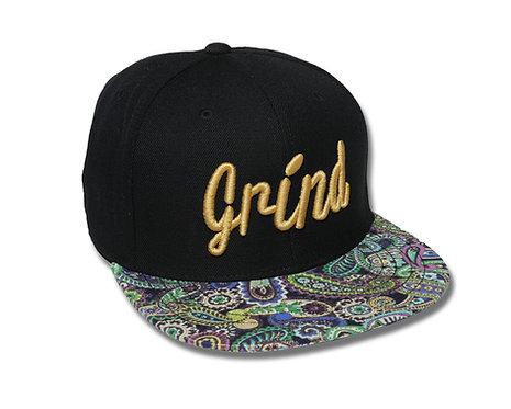 Black Hat/Colored Paisley Brim w/Gold Grind Logo