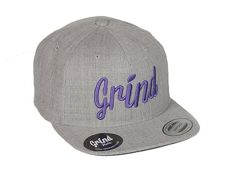 Heather Gray w/ Purple Grind Embroidered Logo