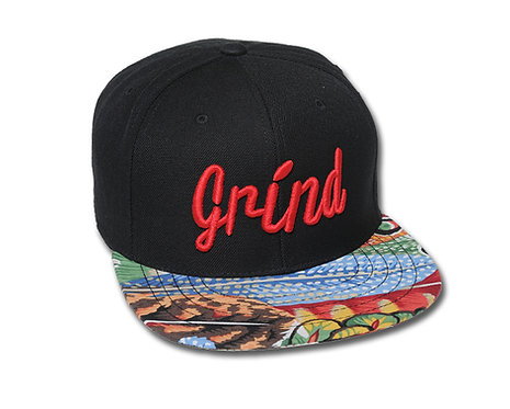 Indian Feathers Hat w/ Red Embroidered Grind Logo
