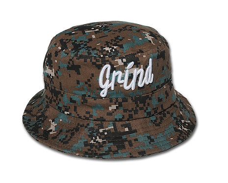 Camo Bucket Hat w/ White Grind Embroidered Logo