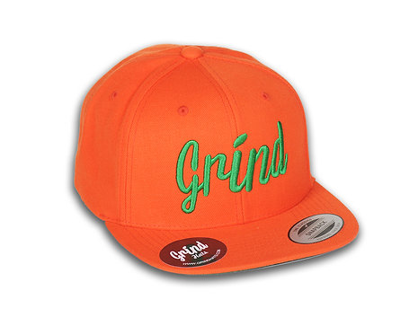 Orange Hat w/ Green Grind Embroidered Logo