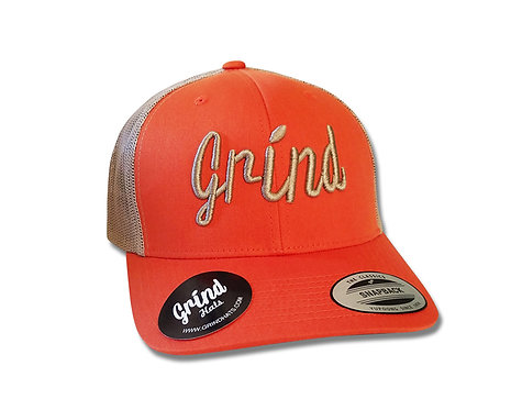 Classic Orange Mesh 2Tone Trucker Hat w/Khaki Logo
