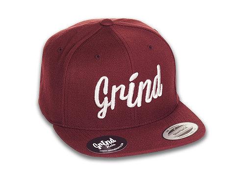 Burgundy Hat w/ Light Gray Grind Embroidered Logo