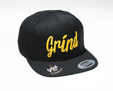 Black Hat w/ Gold Grind Embroidered Logo
