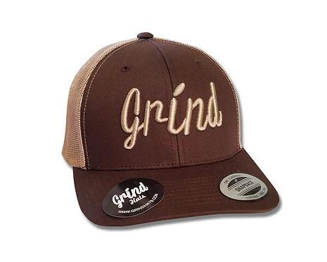 Classic Brown Mesh 2-Tone Trucker Hat w/Khaki Logo