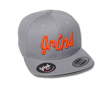 Gray Hat w/ Orange Grind Embroidered Logo