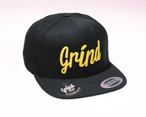 Black Hat w/ Yellow Grind Embroidered Logo