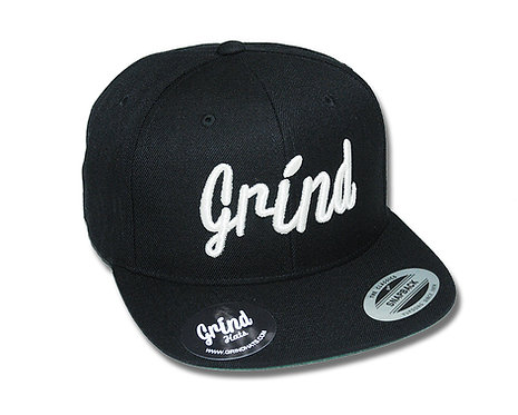Black Hat w/Metallic Silver Grind Embroidered Logo