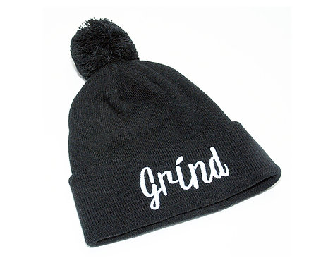 Black Pom Pom Beanie with White Grind Logo