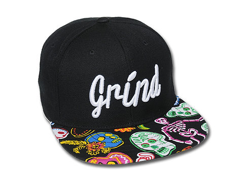 Black Hat/Colored Skulls Brim w/White Grind Logo
