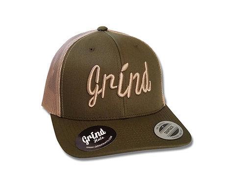 Classic Green Mesh 2-Tone Trucker Hat w/Khaki Logo