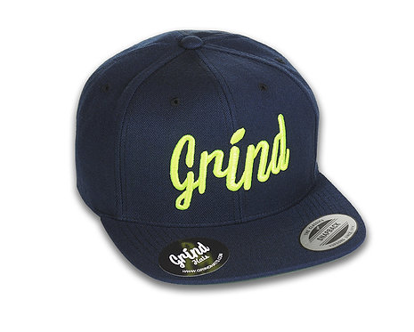 Navy Blue Hat w/ Neon Green Grind Embroidered Logo