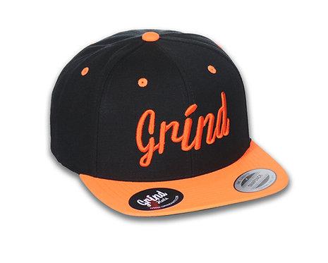 Black/Neon Orange 2-tone Hat w/ Embrd. Grind Logo