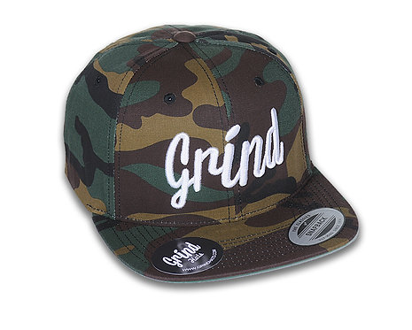 Camo w/ White Grind Embroidered Logo
