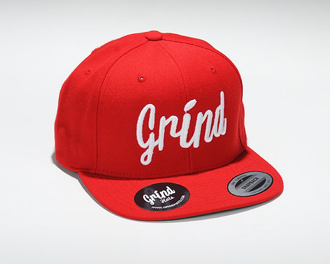 Red Hat w/ White Grind Embroidered Logo
