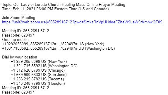 Link To Our Lady of Loretto Healing Mass
