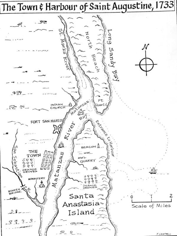 Town and Harbour of Saint Augustine, 1733