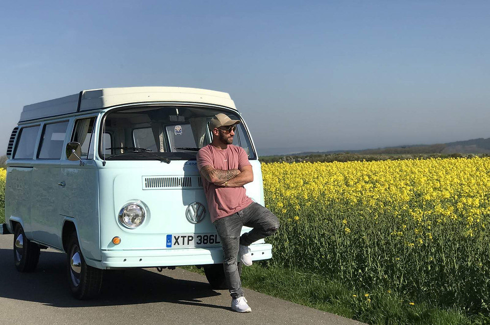 Zebby our 1973 VW camper enjoying the beauty of the Isle of Wight