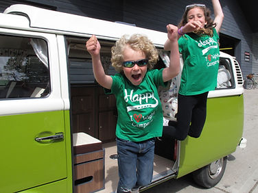 Children having fun in a Classic VW Camper