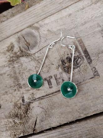 Green Enamel Dish Earrings