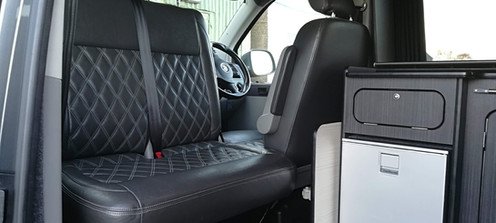 The swiveling front seat adds additional room and seating when you are relaxing at the campsite.