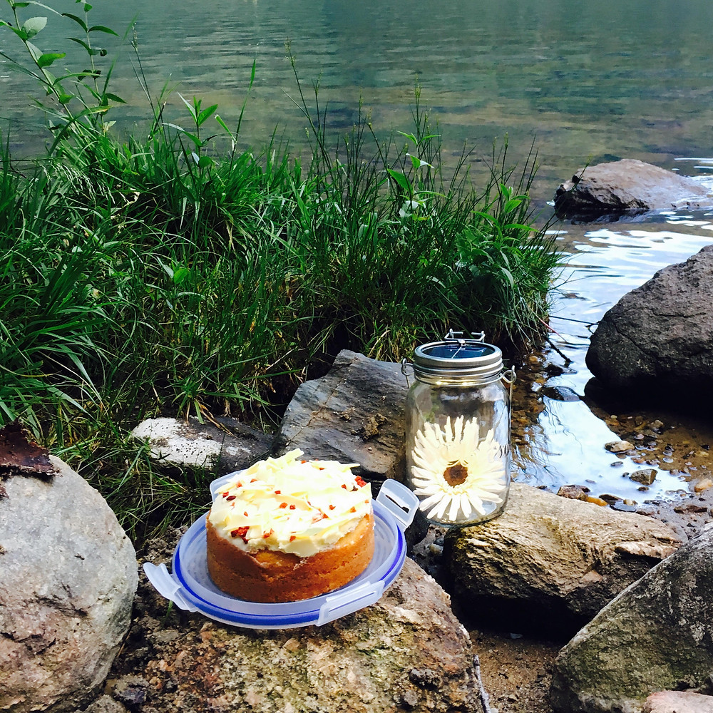 Yummy cake in the evening by Loch Lomond.