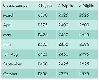 Prices for Classic VW Camper Hire