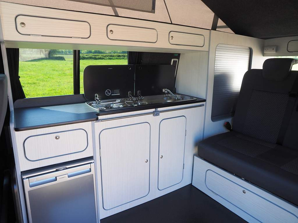 Isla's brand new interior conversion with M1 crash tested Titan bed.