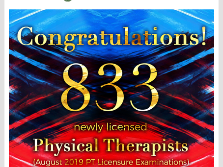 833 Pass the August 2019 Physical Therapist Licensure Exam